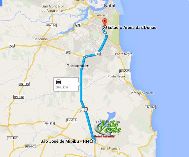Distância do estádio Arena das Dunas 34 km
